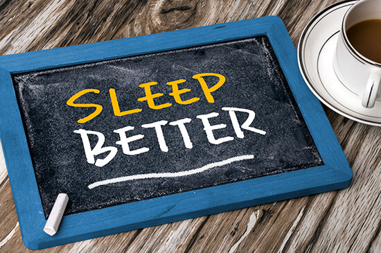 image of chalk board with sleep better written on it
